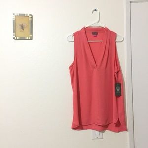 🍉Vince Camuto Sheer Coral Blouse Size Medium🍉